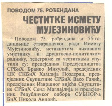 Oslobođenje, Sarajevo 03.12.1982. - Ismet rođendan 1